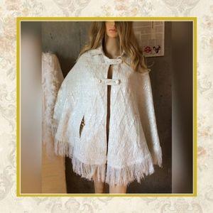Jackets & Blazers - 🌸 WHITE SPARKLE FRINGE PANCO BOHO AZTEC VINTAGE
